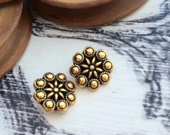 Flower metal button old gold tone x 1 pcs