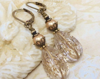 Gold Crystal Earrings Dangles Drops Lace Carved Teardrop Vintage Style Estate Style Old Hollywood Shabby Chic Downton Abbey