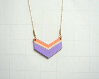 Chevron Necklace, Wood Geometric Necklace,Wood  Necklace,Geometric Jewelry