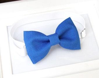 Bright Royal blue bow-tie - Baby bow tie - Boy bow tie - Adult bow tie - Adjustable neck strap