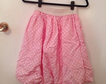 80s pink polka dot crushed bubble skirt