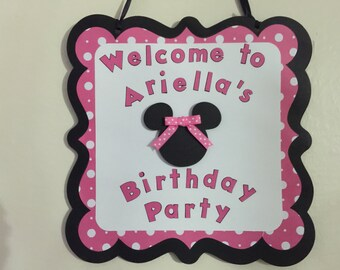 Pink Minnie Mouse Birthday Party Door Sign, Personalized Door Sign, Minnie Mouse Door Sign, Minnie Mouse Decorations