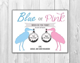Gender Reveal Scratch Off Cards - Boy or Girl - Blue and Pink Stork