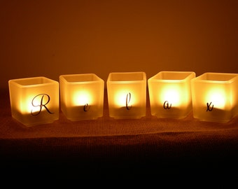 Relax - Etched Glass Candle Holder Set - Spa Candles - Etched Glass Tea Light Votive Candles Home Bath Spa Decor