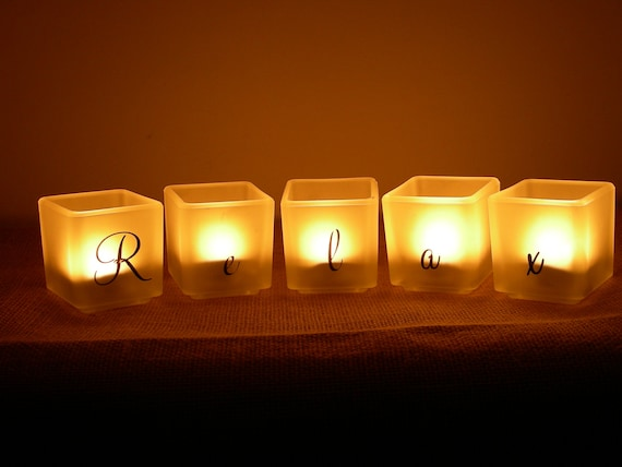 Relax Candle Holder Set Frosted Glass Spa Candles