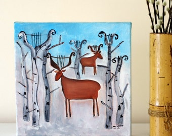 Whimsical Winter painting, Winter Landscape, Landscape with Deer, Music Painting, Birch Trees Painting, Lyre Artwork, Naive Art
