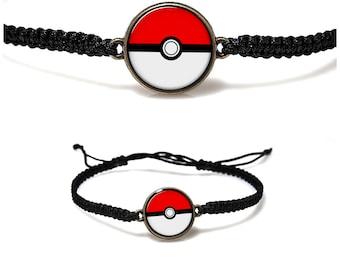 Poke Ball Bracelet Cartoon Poke Ball Macrame bracelet Pokemon Jewelry Black Red White Pendant Pokeball Jewelry