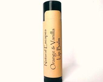 Orange Vanilla Lip Balm, Natural Lip Balm, Organic Lip Balm, Vegan lip balm, coconut oil lip balm, citrus liip balm, orange lip balm