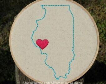State Love Hoop Art { 8 inch } - State Love Art - Custom State Art - Custom State Embroidery Art -