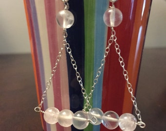 Minimalist steriling silver chaine & rose quartz beads earrings