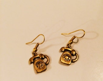 Gold Telephone Earrings