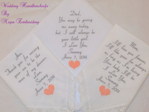 Wedding Gift Ideas For Mom And Dad : Wedding Gifts for Mom Dad and Mother in law by NapaEmbroidery