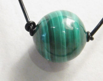 Malachite Bead (10 mm to 12 mm) on a Leather Cord Necklace N202