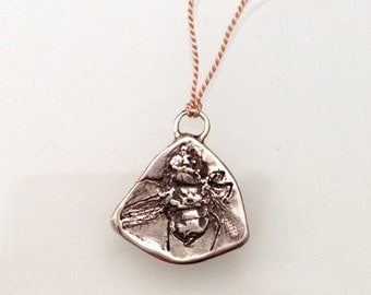 silver Fly Fossil Necklace - creepy cool