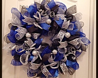 Everyday Blue, Silver and Black Deco Mesh Wreath/Blue, Black and Silver Deco Mesh Wreath/Blue and Silver Wreath