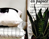 Black and White Grid Throw Pillowcase By Pencil Me In