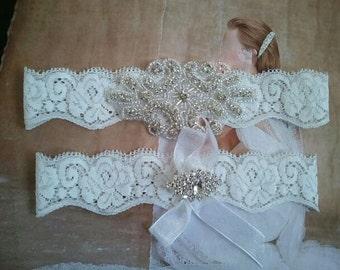 SALE - Wedding Garter, Bridal Garter, Garter Set - Crystal Rhinestone on a White Lace - Style G2056