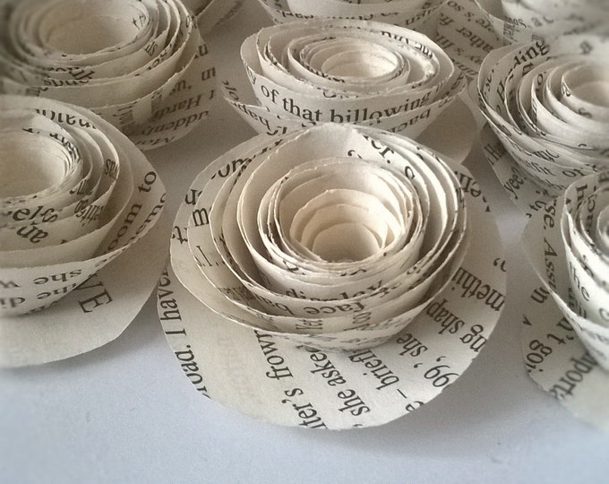 12 Book Page Rolled Roses, Wedding Decoration, Wedding invitations, wedding centerpiece, Made to Order