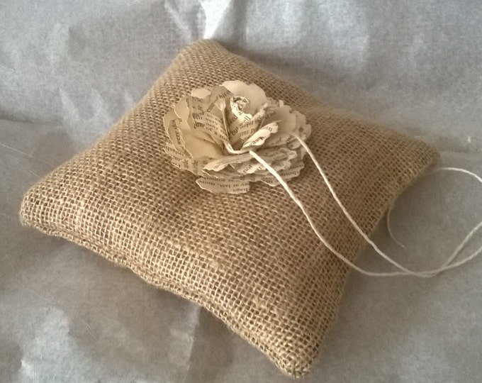 Book Page Rose , Burlap Ring Bearer Pillow , Made to order,