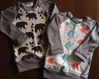Raglan Shirt for Babies and Kids - You Choose Print