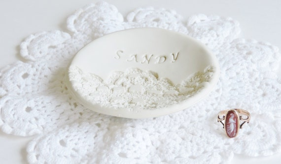 Gift For 13th Wedding Anniversary: Personalized Ring Holder Wedding Ring Dish Lace Wedding