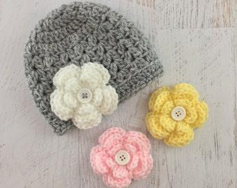 Crochet Baby Girl Hat, Crochet Flower Hat, Newborn Hat, Photoshoot Hat, Baby Girl Flower Hat, Removable Flower Hat, Baby Hat, Newborn Hat