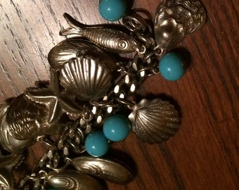 60's Charm Bracelet - Seashells and Fish Turquoise BeadsSilver charms