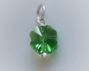 1 Sterling Silver Green Crystal Four Leaf Clover Charm, Small