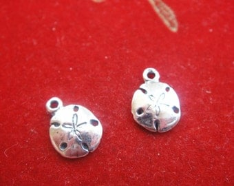 2 PC. small 925 sterling silver sand dollar charm, sand dollar, silver sand dollar