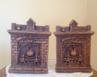 Vintage Syroco bookends featuring a Colonial or Early American fireplace scene-Library Decor