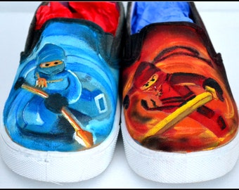 Ninja Shoes, Boys Shoes, Painted Shoes for Boys, Ninjas, Boys Ninja Shoes, Unique Gift For Boys, Boy Gift, Boys Shoes