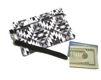 Tribal phone wristlet, zippered clutch purse, black white and gray, personalized wristlet, monogrammed wristlet, southwestern style purse