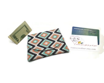 Southwestern style cards wallet, small women wallet, gift cards wallet, purse organizer, business cards wallet, aztec women wallet