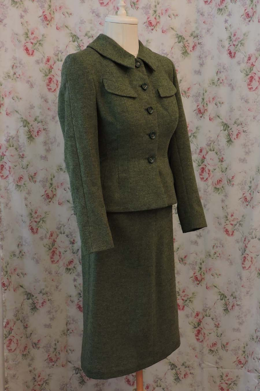 A Royal Night Out: 1940s Green Wool Skirt Suit