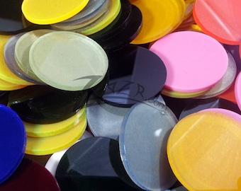 "100 - 3/4"" x 1/8"" Small RANDOM COLOR Acrylic Circle Disc Plexiglass Plastics USA"