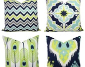 Decorative Pillow Cover - Blue and Green Pillows - Ikat Pillow Cover - Chevron Pillow - Feather Pillows - Blue Pillows - Green Pillows