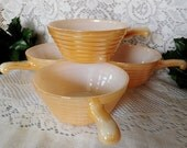 Peach Luster Fire King Soup Bowl Set of 4 by Anchor Hocking