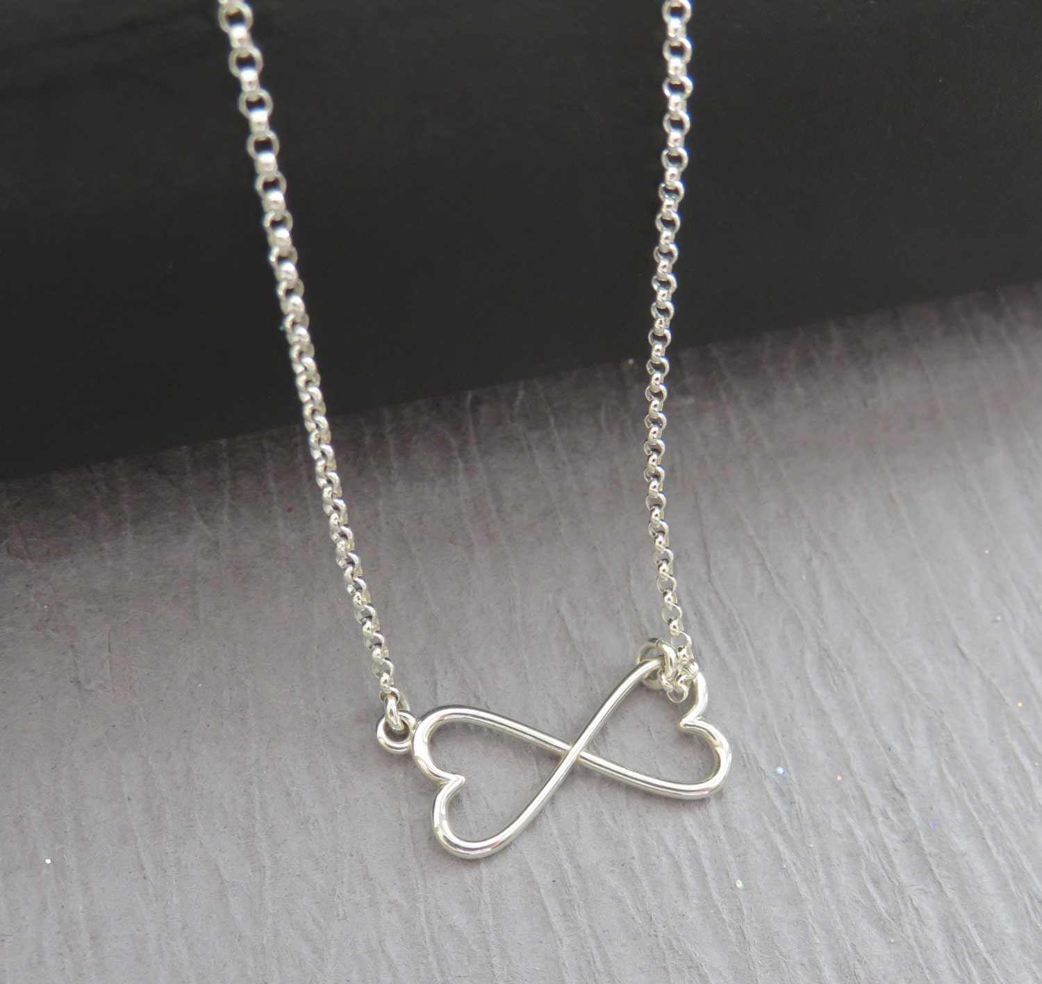 heart infinity necklace double heart sterling by. Black Bedroom Furniture Sets. Home Design Ideas