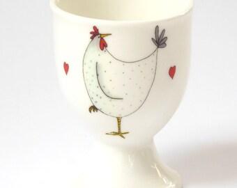Chicken Egg Cup - Little White Hen Gift