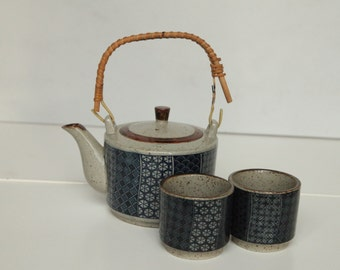 vintage pottery teapot and cups