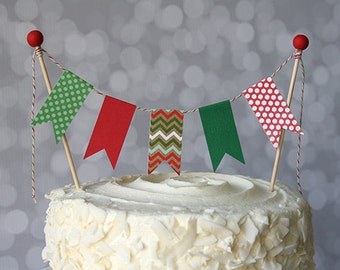 Christmas Red & Green Holiday Cake Bunting Pennant Flag Cake Topper-MANY Colors to Choose From-Birthday, Wedding