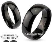 Custom Engraved Domed Black Stainless Steel Name Ring For Men or Women 6-8mm Promise Ring-R003