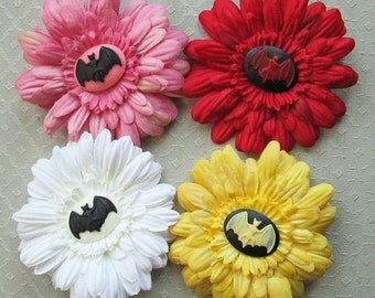 Bat Cameo & Silk Daisy Flower Clip/Pin - 9 Colors/Styles!