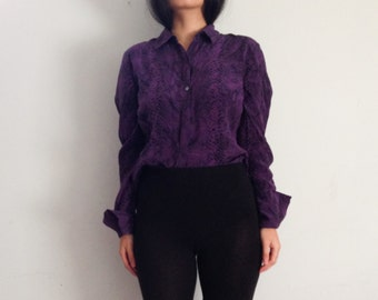Purple snake print silk blouse