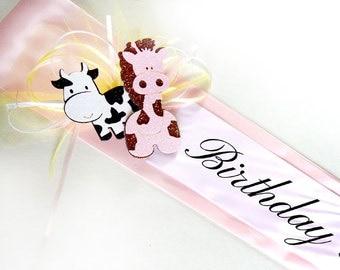 Birthday Girl Sash - Pink Baby Sash, First Birthday, Birthday Party Sash, Animal Birthday Party Sash
