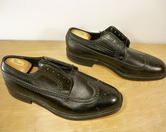 Vintage Sears Made in USA Black Leather Men's Work Wingtips Pimp Gangster Dress Shoes Oxford Size 12 Extra Wide