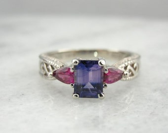 Sapphire And Ruby Handmade Ring In White Gold X4426R-P
