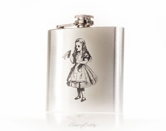 Alice in Wonderland Drink Me -  6oz or 8oz Engraved Hip Flask