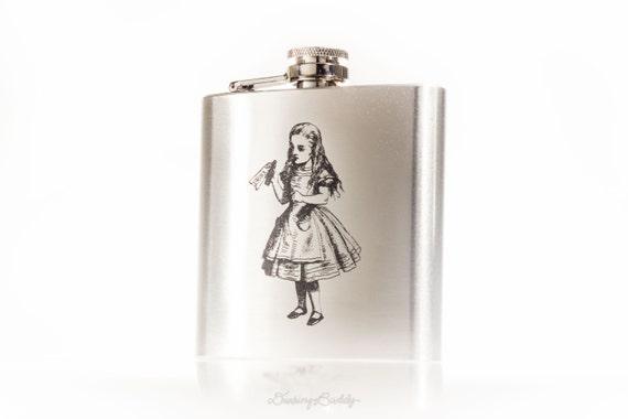 Alice in Wonderland Drink Me -  6oz Engraved Hip Flask