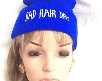Cobalt Royal blue bad hair day beanie earwarmer headband free shipping